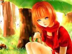 anime, девушка, рыжими
