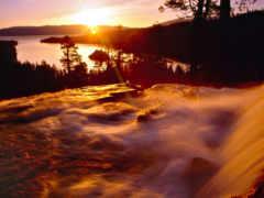 водопады, водопадом, рассвет