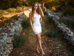 девушка, платье, white