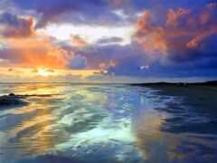 побережье, закат, marine
