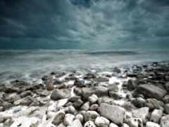 хмурый, море, камень