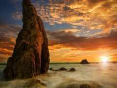 закат, море, rock