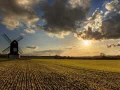 закат, небо, поле