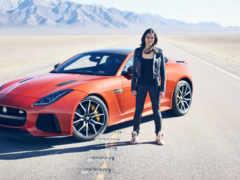carro, frente, mulher