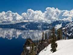 гора, снег, озеро