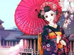 гейша, кимоно, японская