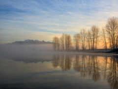 отражение, озеро, небо