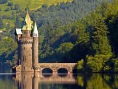 башня, озеро, vyrnwy