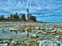 берег, камень, природа