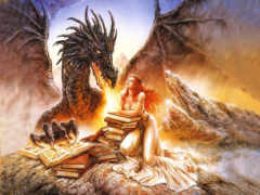 девушка, fantasy, дракон