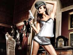 девушка, пистолет, модель