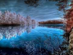 природа, вода, синий, отражение, небо, зима,