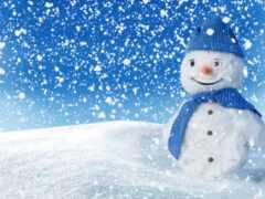 winter, снеговик, снег