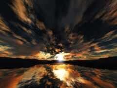 закат, effects, озеро