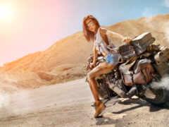 девушка, мотоцикл, biker
