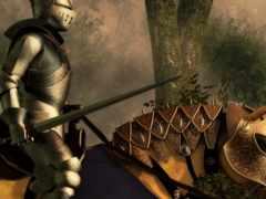 рыцарь, доспехах, коне
