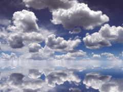 отражение, небо, oblaka