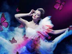 mujer, mariposa, primavera