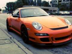 car, оранжевый, porsche