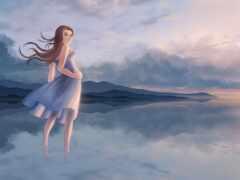 девушка, ветер, облако