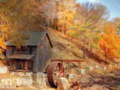 мельница, осень