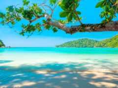 paisaje, playa, пляж