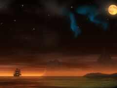 корабль, пиратский, ночь