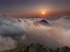 восход, закат, гора