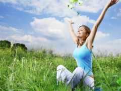 фитнес, природа, девушка