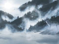 волк, mountains, winter