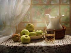apple, столик, яблоко