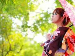 язык, зонтик, кимоно