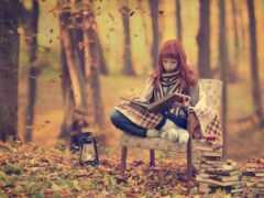 девушка, книга, осень