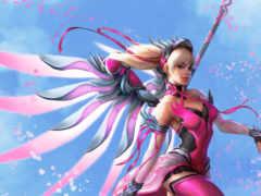 mercy, overwatch, розовый