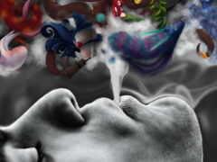 кальян, дым, ароматный