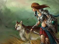 волк, девушка Фон № 22700 разрешение 2560x1600