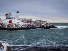 lighthouse, winter, landscape