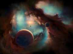 космос, planet, parede