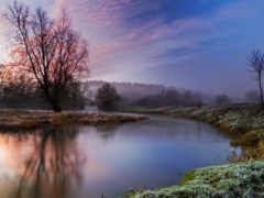 река, туман, itália