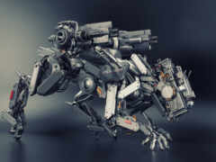 cyberpunk, police, robot