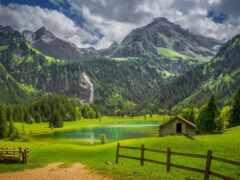 альпы, озеро, природа