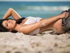девушка, пляж, сексуальный