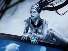 девушка, cyber, robot