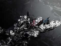 узоры, black, цветы