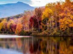 гора, осень, озеро