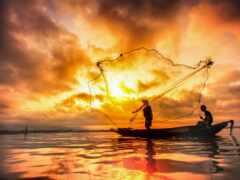 fish, лодка, ночь