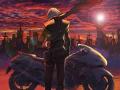 anime, мотоцикл, art кладбище