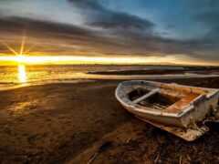 landscape, море, лодка