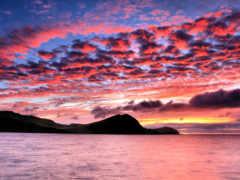 закат, небо, горы