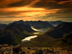 закат, красивый, горы
